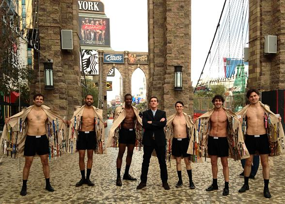 The Swatch Director of Retail Marketing stands with the Swatch Minutemen of Las Vegas