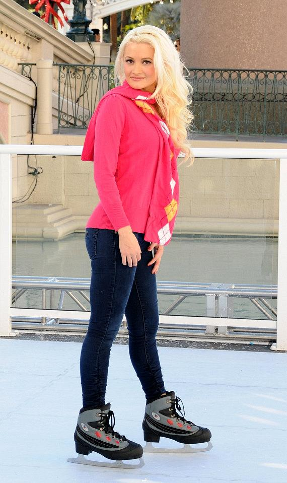 Holly Madison Skates on Outdoor Ice Skating Rink at The Venetian and The Palazzo Las Vegas