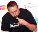 Joey Chestnut shows his championship style
