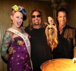 Tana the Tattooed Lady, Vince Neil and Tony Felicetta celebrate Neil's shrunken head at The Golden Tiki