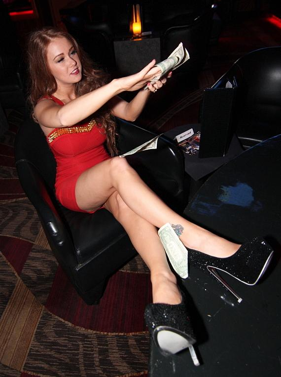 Leanna Decker enjoys champagne in VIP room at Crazy Horse 3