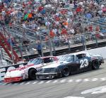 Matt Larsen of St. George, Utah, edged Ryan Vargas of La Mirada, Calif., by a nose in the NASCAR Super Stocks feature