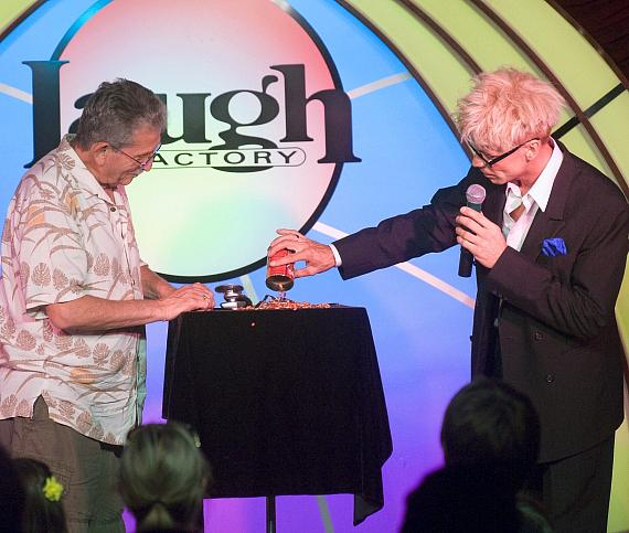 "Murray SawChuck performs the ""Vanishing Watch Illusion"" in 'MURRAY Celebrity Magician"" Vanishing Watch Illusion at Laugh Factory in The Tropicana Las Vegas"