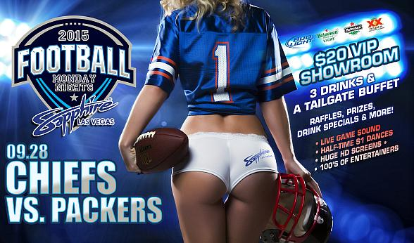 Sapphire hosts Monday Night Football TONIGHT (9/28) Green Bay Packers vs. Kansas City Chiefs with $1 Halftime Dances