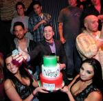 Vinny Guadagnino with his large entourage of friends and family and his birthday cake inside Chateau Nightclub & Gardens