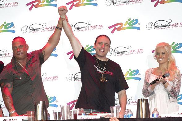 Joey Chestnut Wins Martorano's Masters Meatball Eating Championship for Second Straight Year