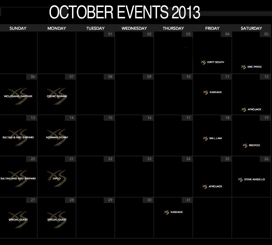 upcoming events XS Nightclub