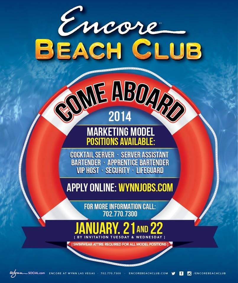 Encore Beach Club Audition Schedule