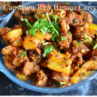 Capsicum - Aratikaya Koora / Bell Pepper-Raw Banana Curry