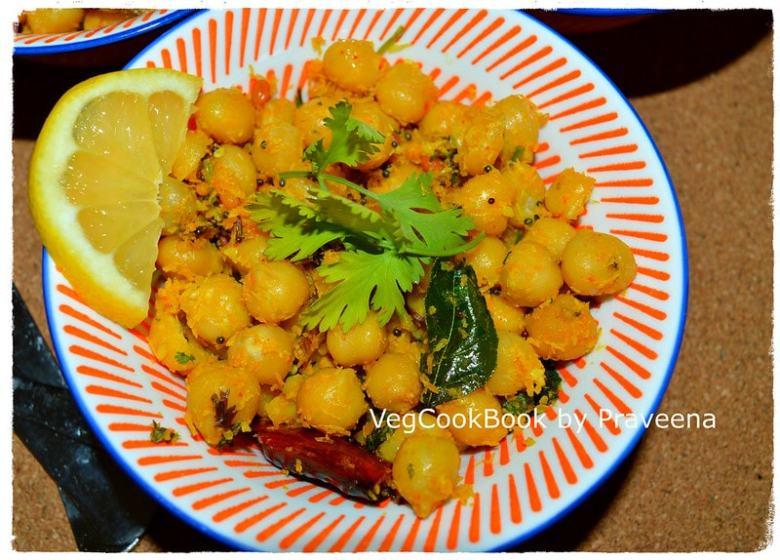 chana tadka / seasoned chickpeas / senagala guggillu / thalimpu senagalu / garbanzo beans snack instant pot
