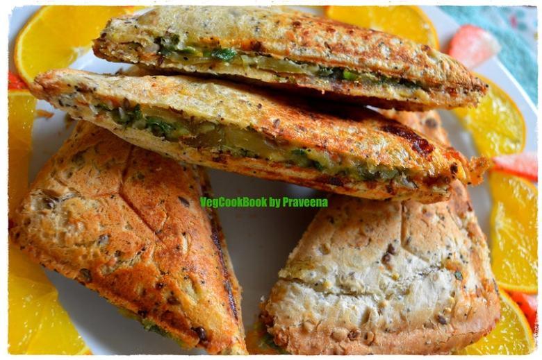 sweet potato & spring onion sandwich