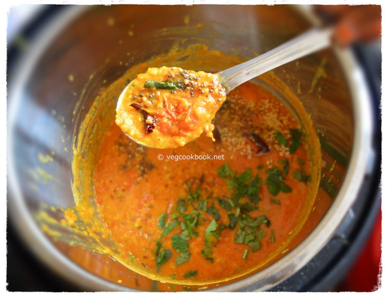 Tomato dal lentil stew.South Indian Andhra style Protein rich,Vegan,Gluten free pappu in Instant pot electric pressure cooker / stove top.