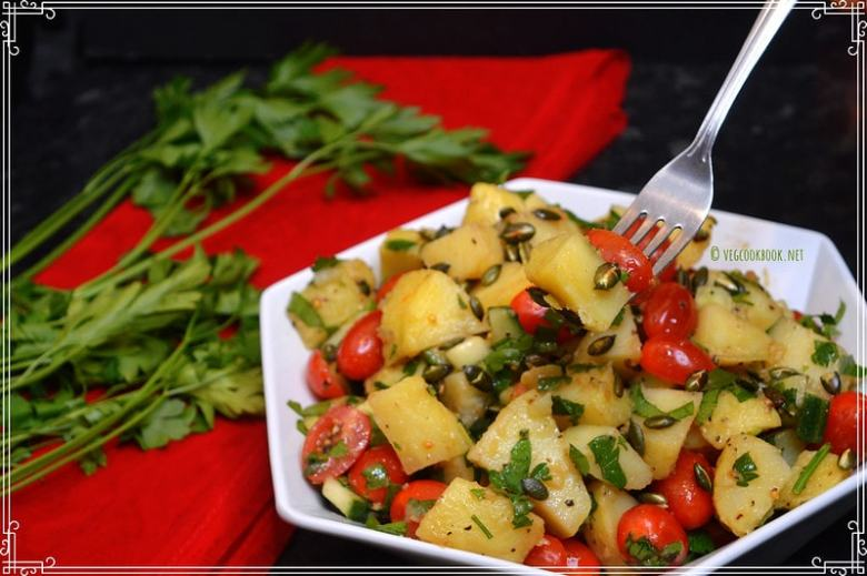 Potato Salad with Parsley. Easy Colourful Salad / Side with plant based, no mayo dressing. Stove top,Instant pot methods with step wise pics.