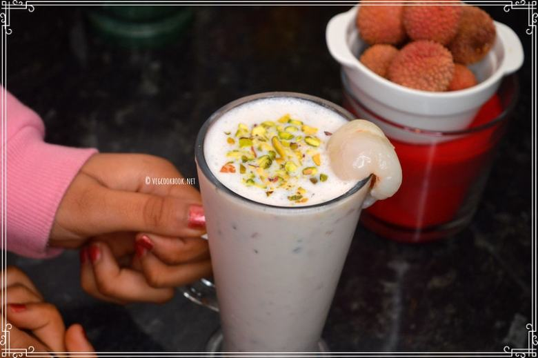 Lychee / Litchi Milkshake recipe using either fresh fruit or frozen fruit. Filling breakfast smoothie,rich in vitamin C, B6, good for skin.