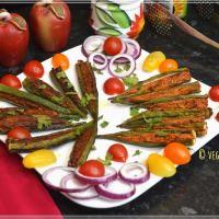 Stuffed Okra / Bharwa Bhindi Curry (Air Fryer, Stove Top)