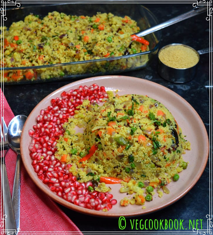 Simple, Veggie Loaded, Healthy Meal with Couscous, Upma suitable for Weight Loss Low Calories, Low Carbs,  Weight Watchers Diet.