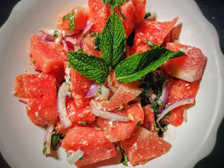 Watermelon Feta Salad Step By Step Recipe