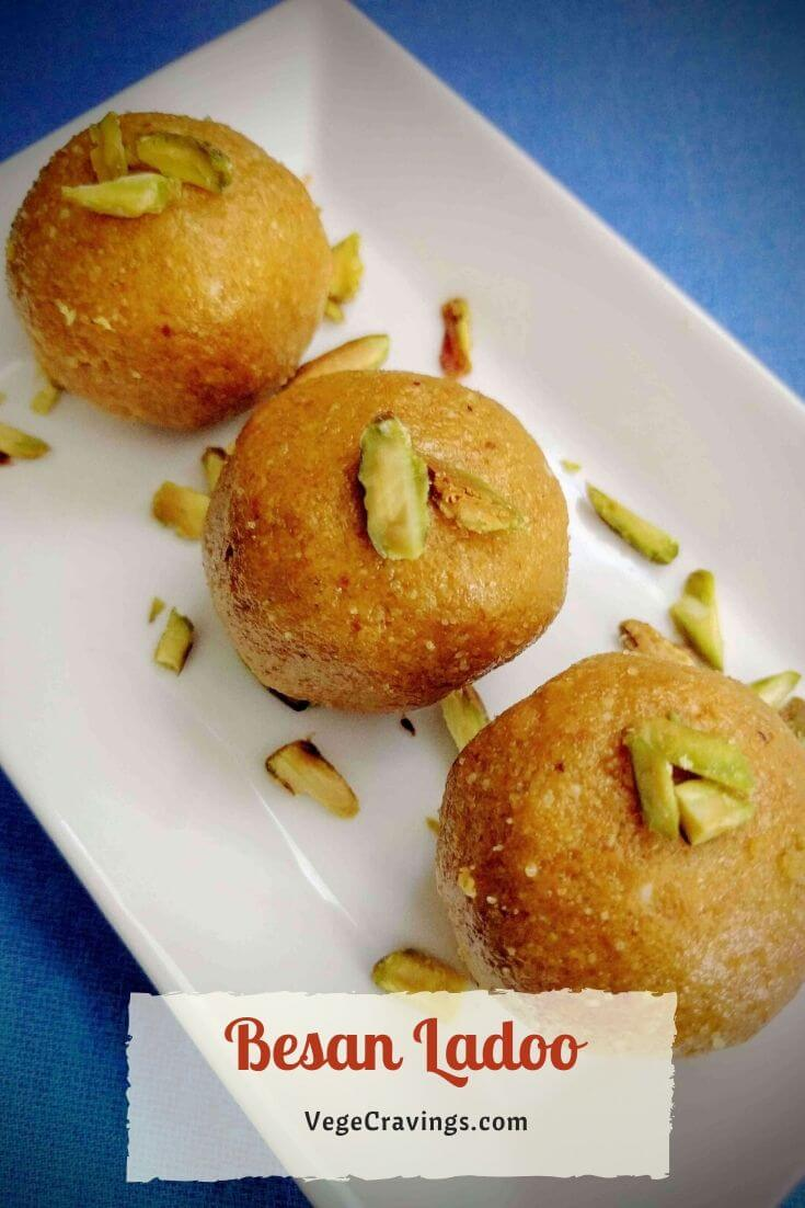 Besan Ladoo is an Indian Sweet prepared using roasted chickpea flour & is often enjoyed in festivals like Ganesh Chaturthi, Diwali, Holi etc.