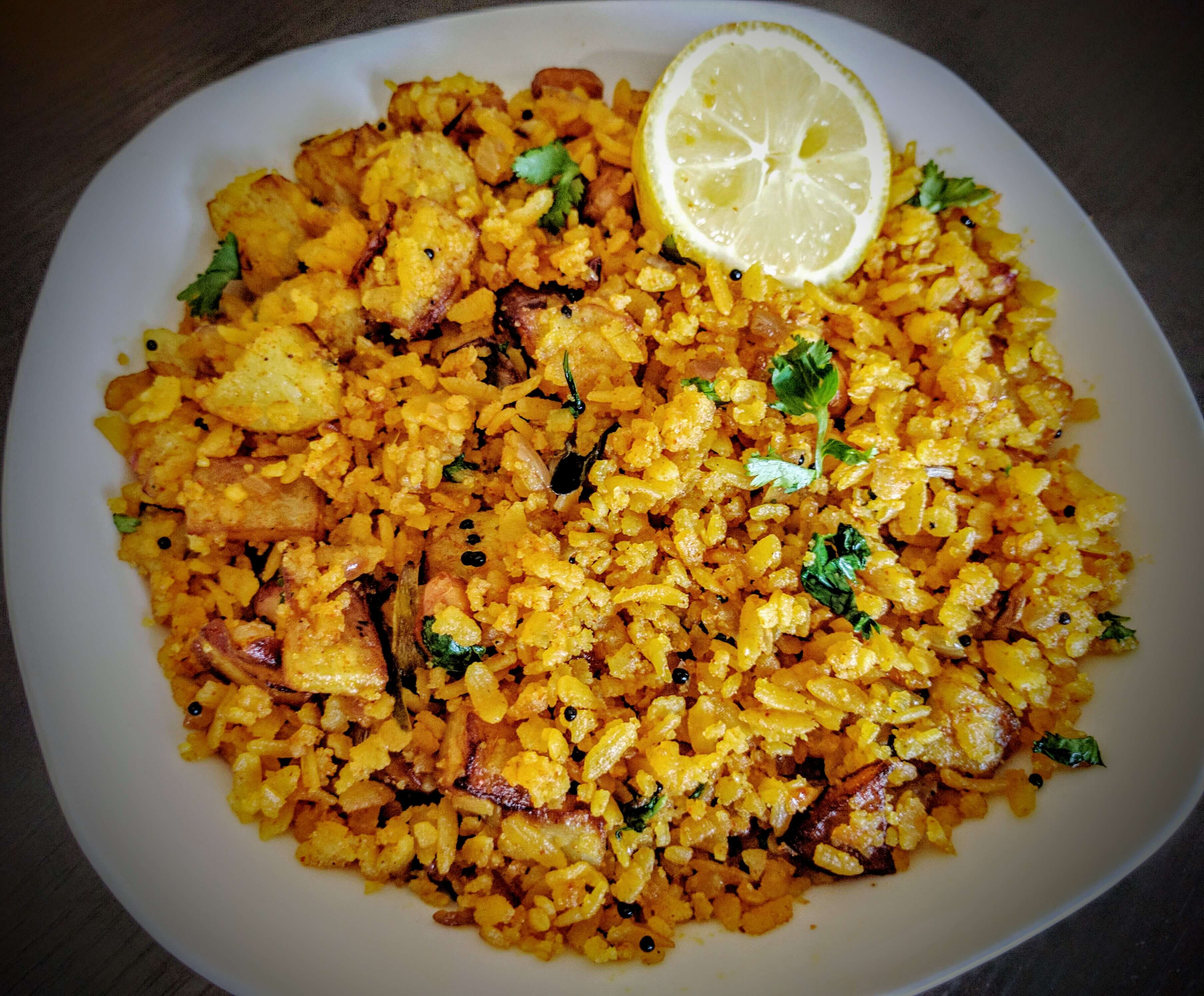 Aloo Poha | Kanda Batata Poha Recipe Step By Step Instructions