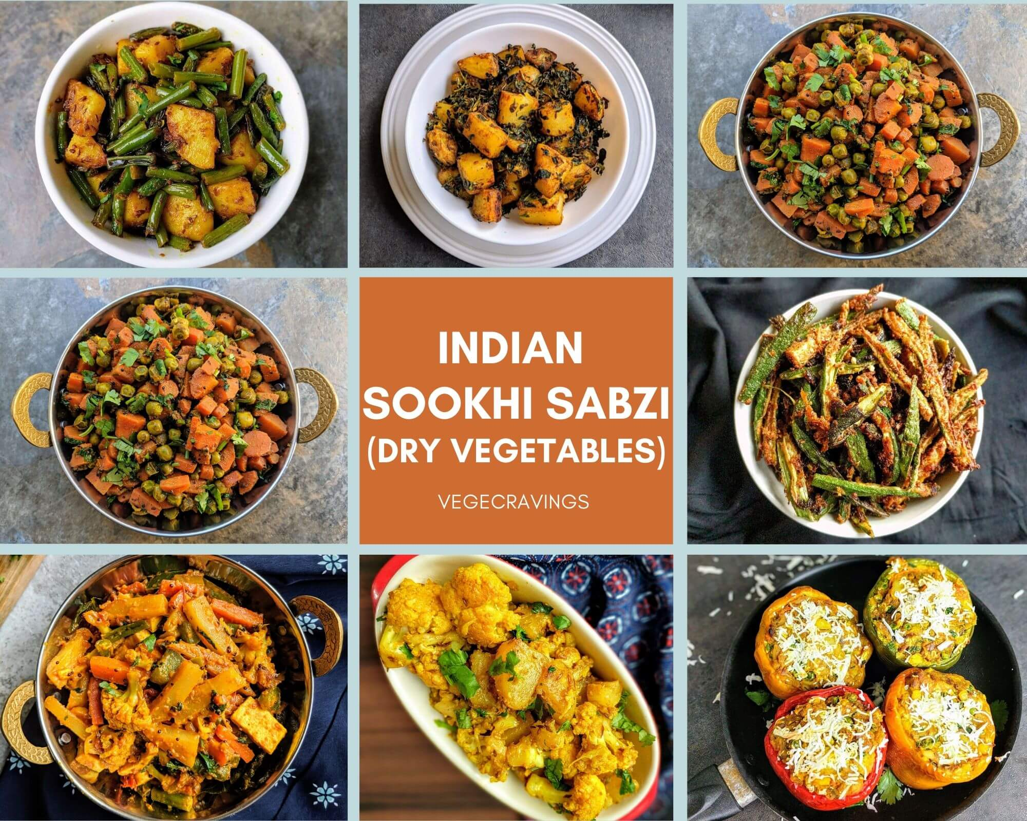Indian sabzi recipes are dry vegetables curries usually prepared without a gravy and are generally enjoyed along with Indian breads or rice.