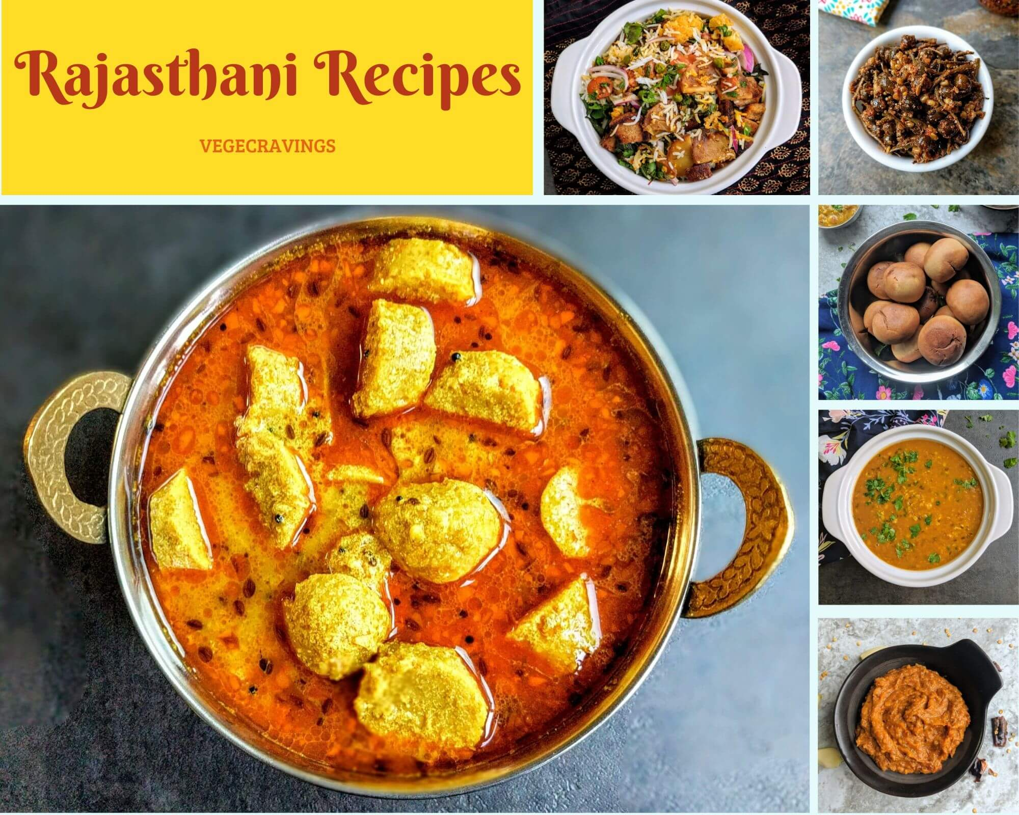 We bring to you a collection of authentic vegetarian recipes from the land of Maharajas. Rajasthani Cuisine is really unique both in it's cooking techniques and the ingredients used due its royal background as well the lack of green vegetables & the prevelant arid conditions.