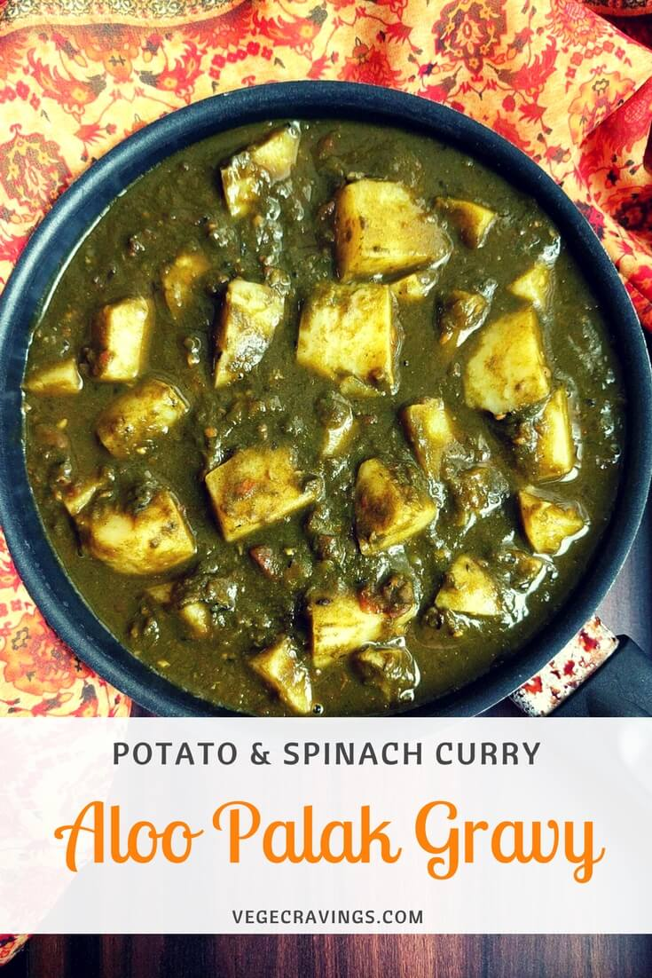 Aloo Palak Gravy Recipe   Potato & Spinach Curry