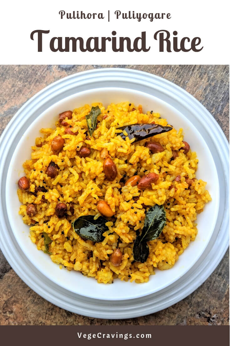 Tamarind Rice or Pulihora is a traditional South Indian dish made by frying rice with a tempering of Tamarind, Curry Leaves & other spices.
