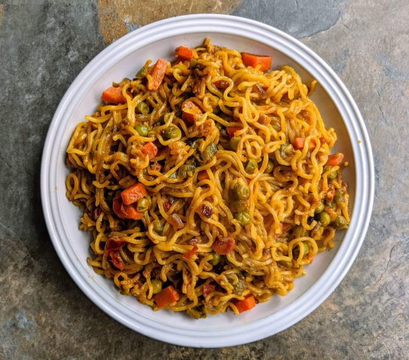 Vegetable Masala Maggi is a healthy twist on maggi noodles made by tossing the noodles along with mixed vegetables and spices.