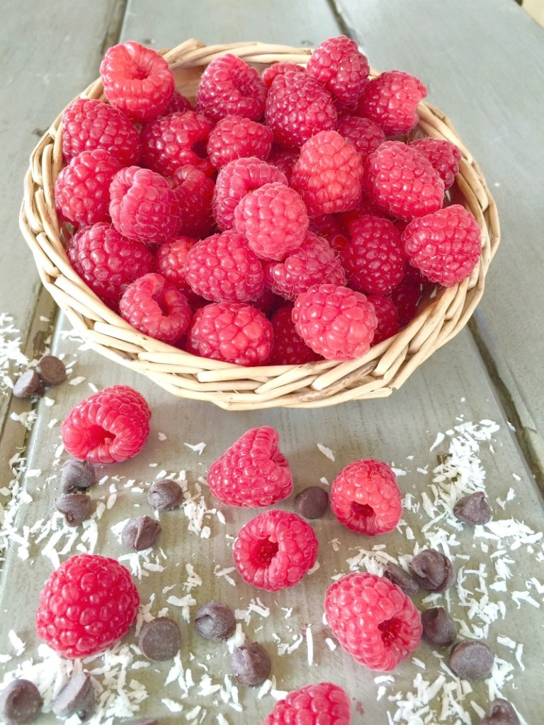 Basket of raspberries, chocolat chips and coconut