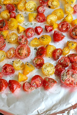 cut and seasoned tomatoes for oven roasted tomatoes