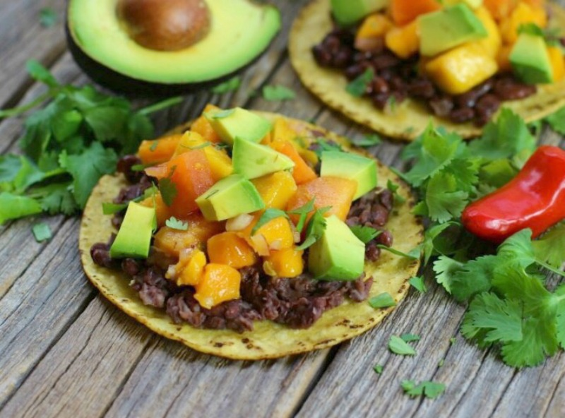 Bean tostadas with tropical salsa