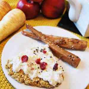 Biscuit avoine-citron, crème chantilly coco, et panais rôti