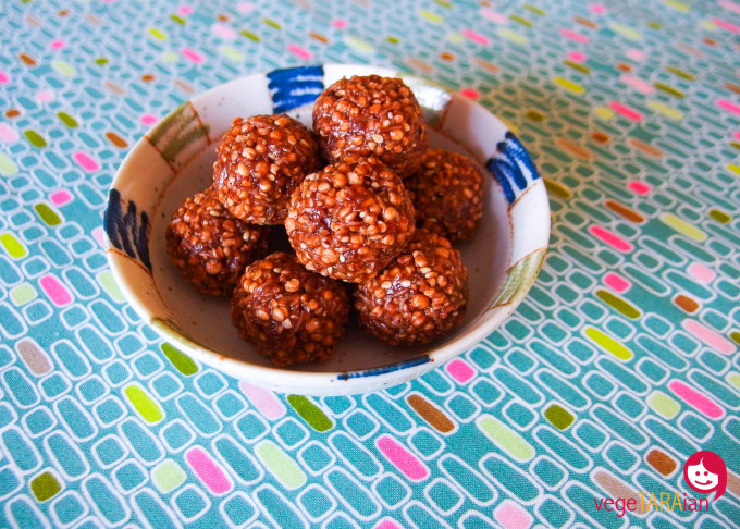Puffed quinoa and peanut butter balls