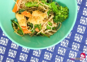Asian noodle salad with fried tofu puffs