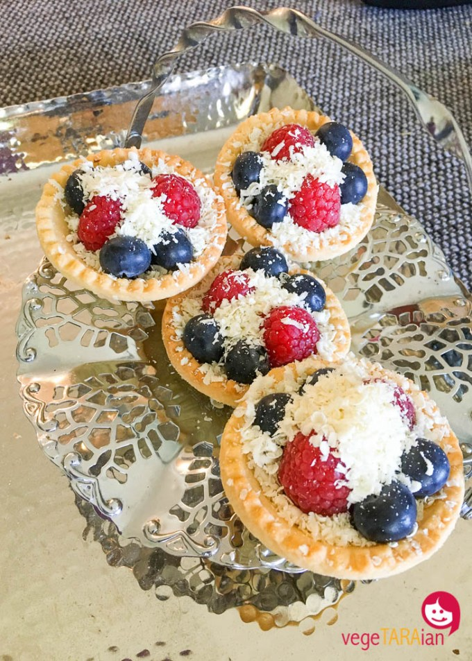 Chocolate and berry tarts
