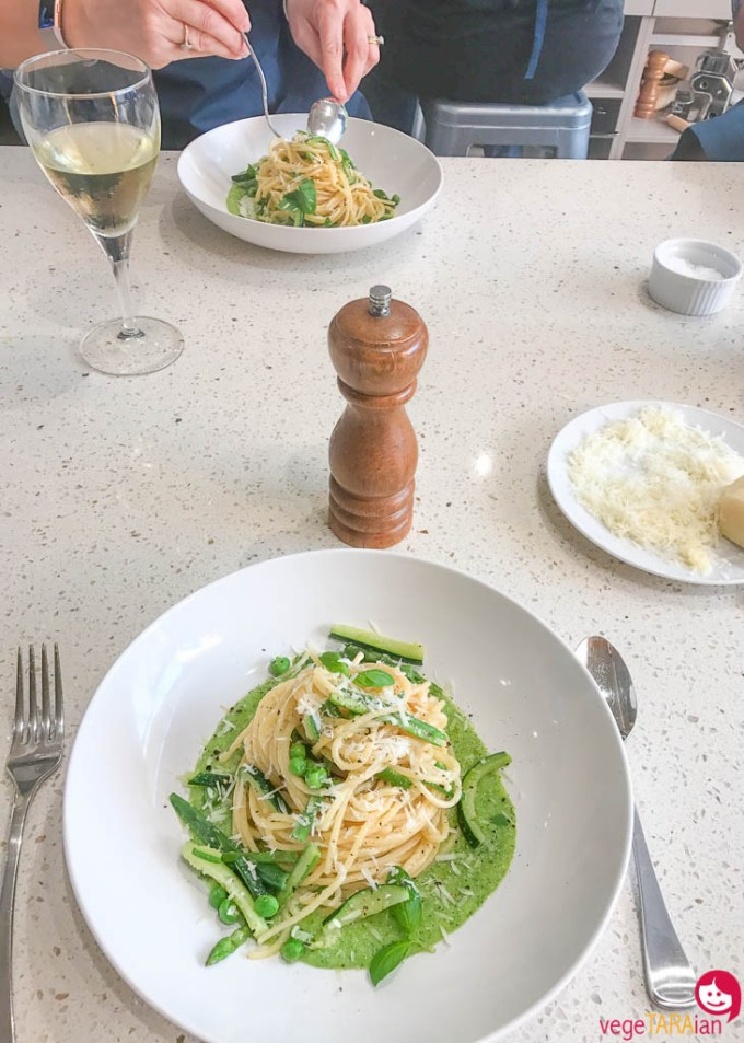 Spaghettoni with green vegetables and cacio and pepe sauce at Casa Barilla