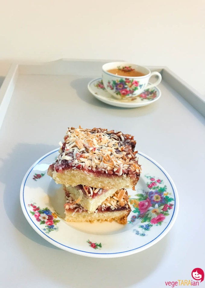 Chewy jam and coconut slice