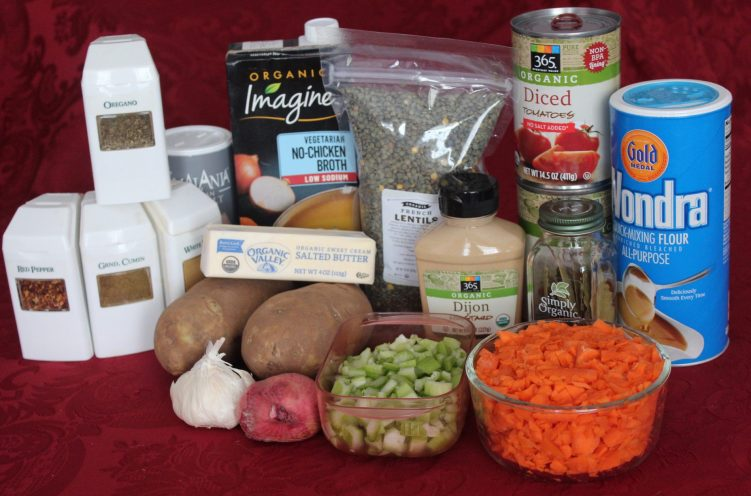Lentil Stew ingredients from recipe by Vegetarian Atlas.