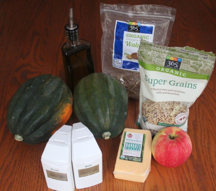 Ingredients for cheese stuff acorn squash