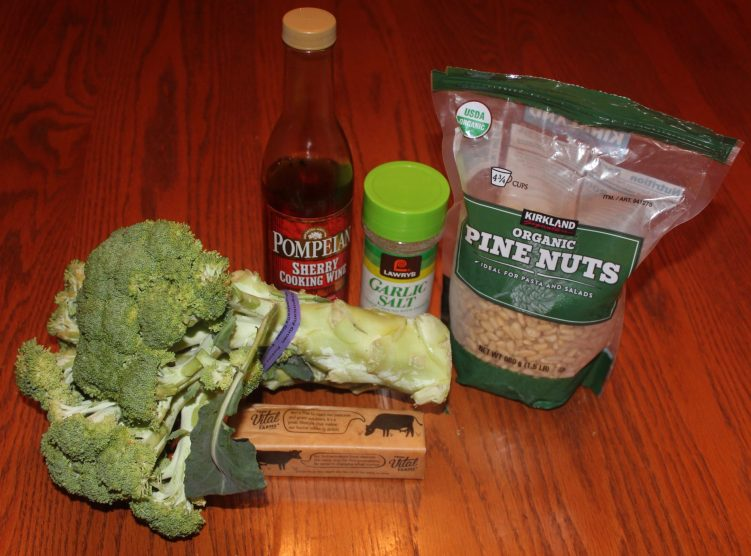 Ingredients for broccoli and pine nuts in a brown butter sherry sauce