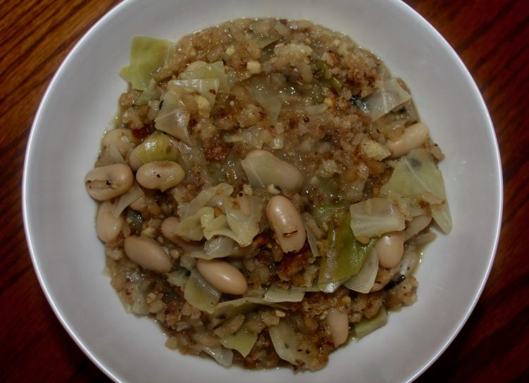 Bean, rice and cabbage bowl