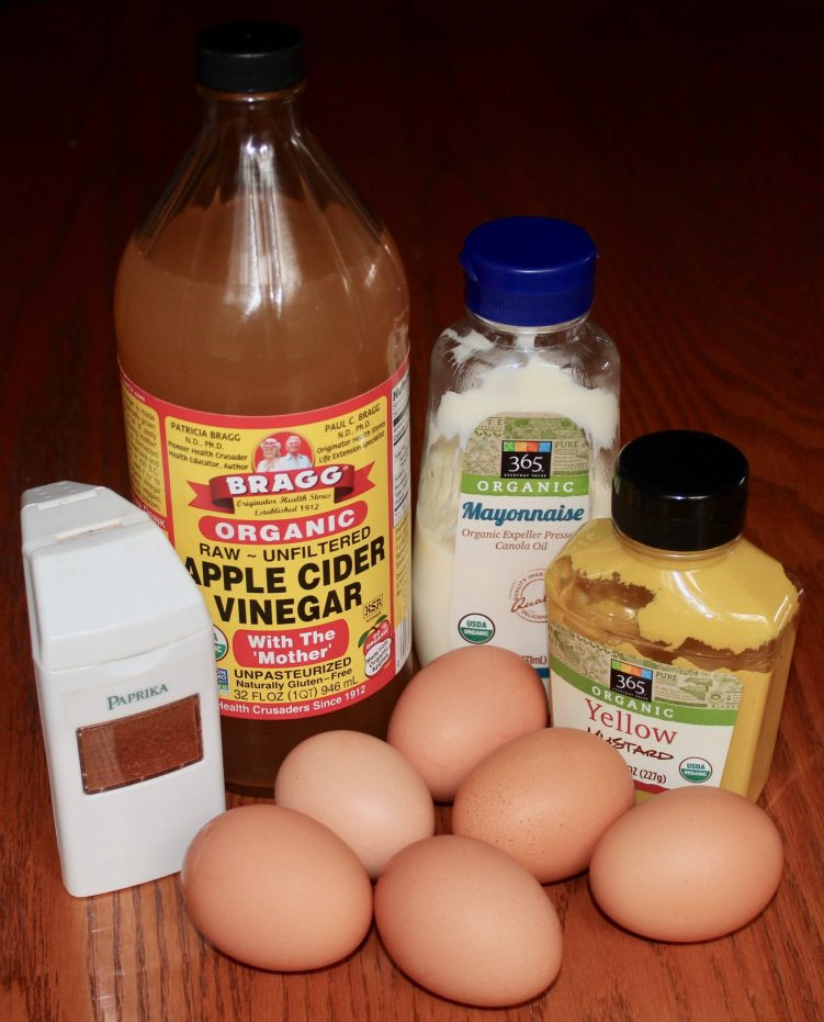 Ingredients for simple, basic deviled eggs