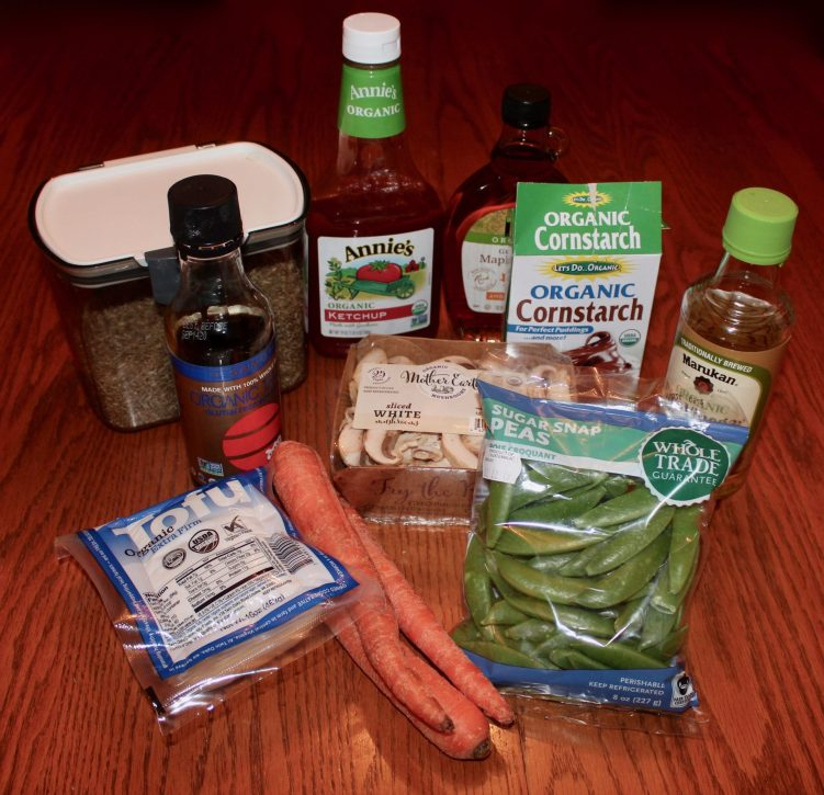Ingredients for maple-glazed broiled tofu stir-fry