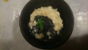 Cheese risotto with garlic oil icecream