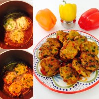 INSTANT SEMOLINA VADA WITH BELL PEPPERS AND SPINACH