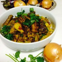 EGGPLANT(BRINJAL STIR FRY) WITH NUTS SPICE POWDER AND VADI