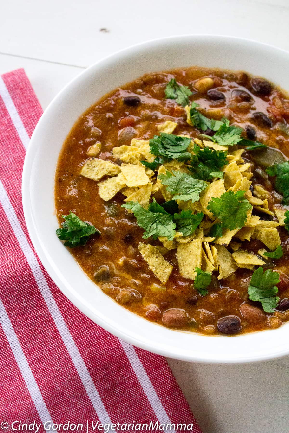bowl of Instant Pot Taco Soup topped with tortilla chips and cilantro