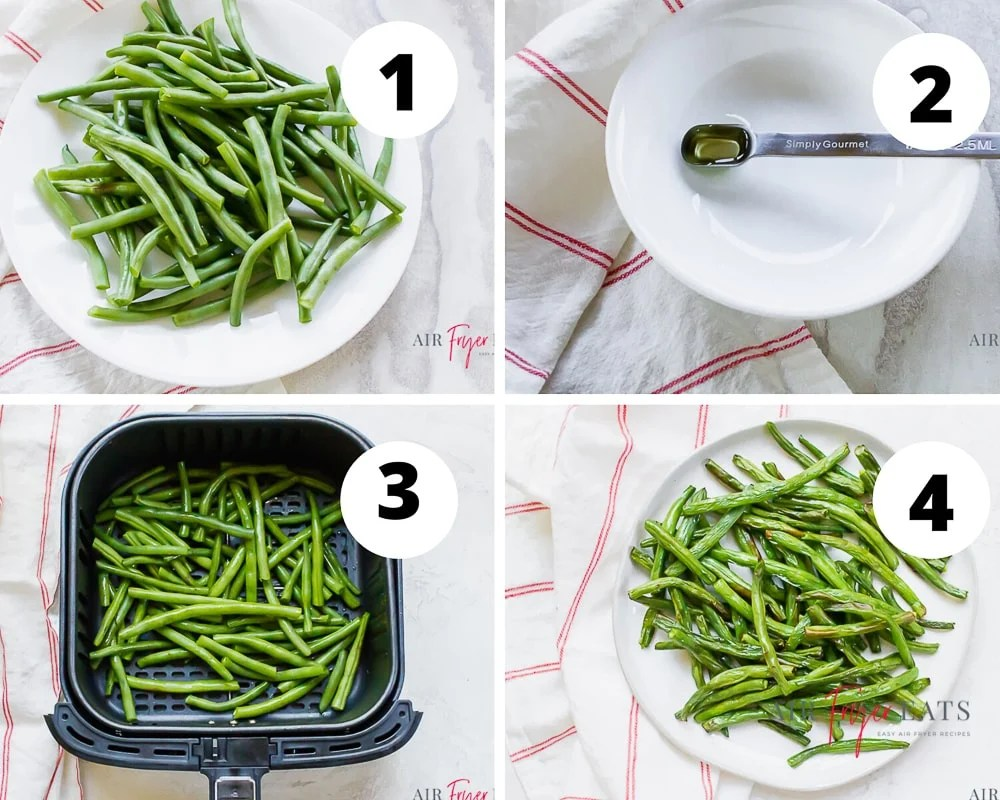 four picture collage showing air fryer green beans