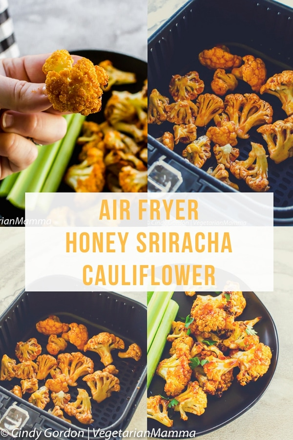 Air Fryer Honey Sriracha Cauliflower is a delicious spicy air fryer recipe topped off with a sweet and spicy Sriracha sauce. This vegetarian air fryer recipe is a winner for game day! #airfryer #airfryerrecipes #airfryercauliflower