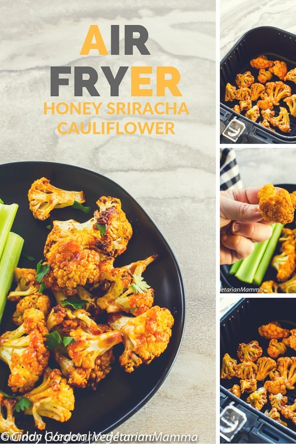 Air Fryer Honey Sriracha Cauliflower is a delicious spicy air fryer recipe topped off with a sweet and spicy Sriracha sauce. This vegetarian air fryer recipe is a winner for game day! #airfryer #airfryerrecipe #airfryercauliflower